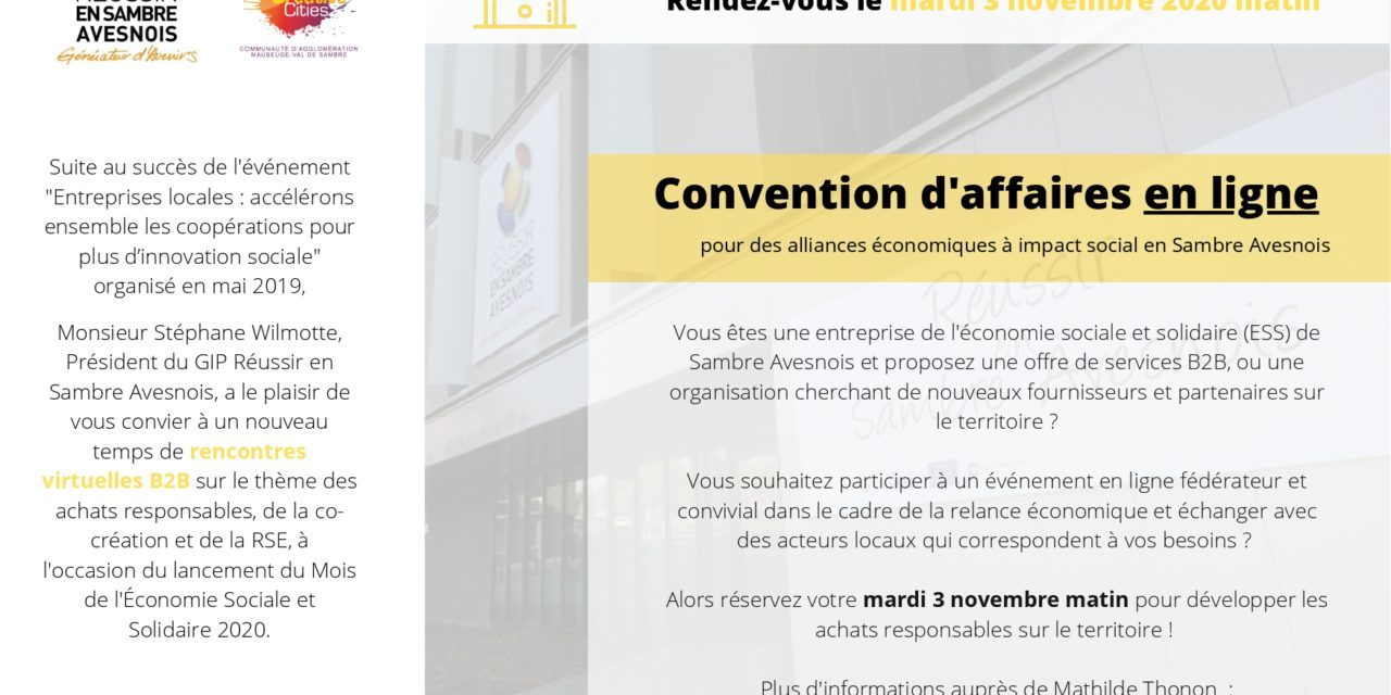 CONVENTION AFFAIRES EN LIGNE LE 3 NOVEMBRE 2020 MATIN