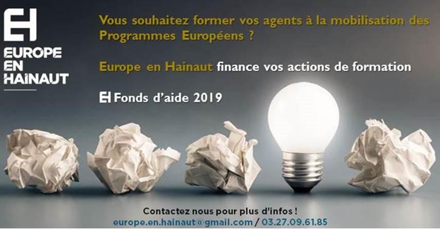 Europe En Hainaut finance vos actions de formation dans le domaine des Programmes Européens